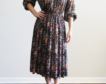 Vintage Floral Peasant Dress