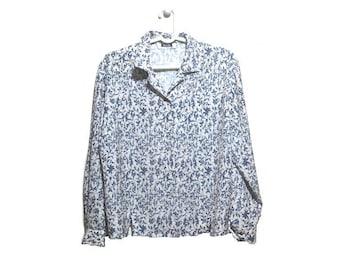 Floral Blouse, 90s Blouse, Vintage Blouse Large, Vintage Blouse XL, Navy Blue Blouse, Grunge Blouse, Floral Button Up, 90s Button Up