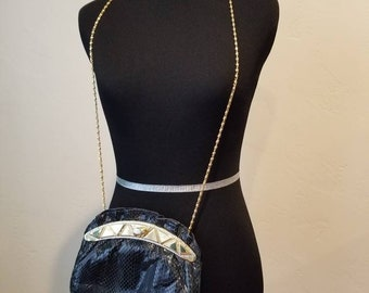 Dark Blue Snakeskin 80s purse