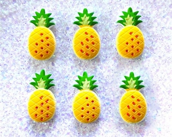 4 pcs - Kawaii Pineapple Planar Resin Flatback Cabochon - 30mm - Fruit CABS - Decoden - DIY - Tropical Fruit