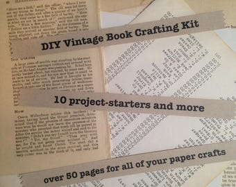 DIY Vintage Book Paper Crafting Kit - 10 project-starters and more, dictionary pages, book pages, greeting cards, bookmarks, tags and more