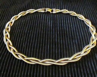 Vintage CORO Pegasus DES Pat. Pend. Braided Gold Tone Necklace Choker ~ Signed Coro