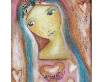 Heart of Mercy -   Giclee print mounted on Wood (4 x 4 inches) Folk Art  by FLOR LARIOS