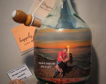 Well Wishes Bottle for Bridal Shower, Messages In A Bottle With Your Photo and Hand Painted Embellishments, Unique Guestbook Alternative