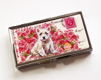 7 day pill box, Dog pill case, Pill case, Pill Container, 7 sections, 7 day, Dog Pill Box, Pill Box, Puppy, Dog, Pink, Pink Flowers (3982)