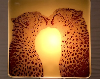 Cheetah Kiss Night Light Fused Glass