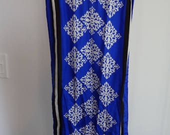 Vintage silk scarf; blue with black and white detail