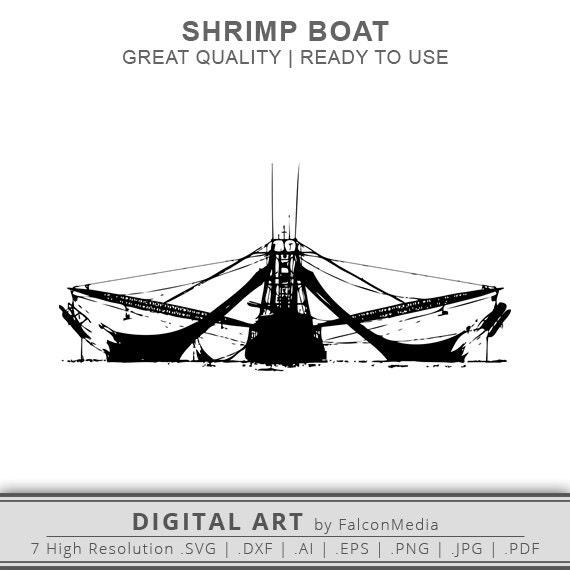 Shrimp Boat SVG Shrimp Boat Silhouette Boat SVG