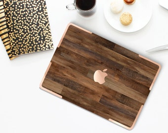 Macbook Pro 13 Case Macbook Air Case Laptop Case Macbook Case . Dark Varnished Wood with Rose Gold Chrome Accents- Platinum Edition