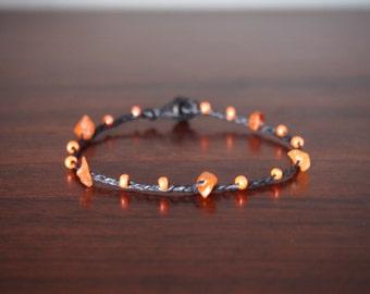 Thai handmade bracelet carnelian stone and beads on Summer collection/orange bracelet/lucky  bracelet/talisman bracelet/craft jewelry/Christ