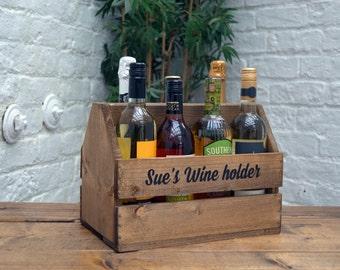 Personalised Wooden Rustic Beer/Wine Caddy Storage Box