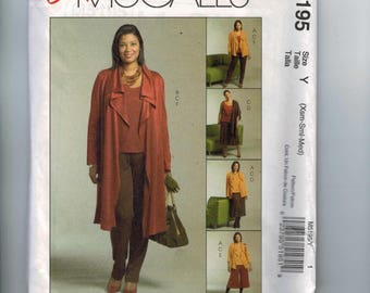 Misses Sewing Pattern McCalls M5195 5195 Unlined Open Jacket in Two Lengths Top Skirt Gaucho and Pants Size XS S M 4 6 8 10 12 14 UNCUT