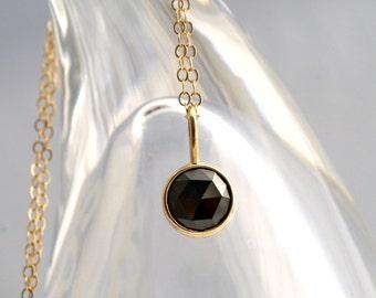 Sweet Little Rose Cut Black Diamond Pendant In 14k Yellow Gold