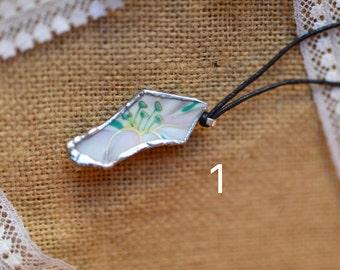 Teal Broken China Necklace Set #1