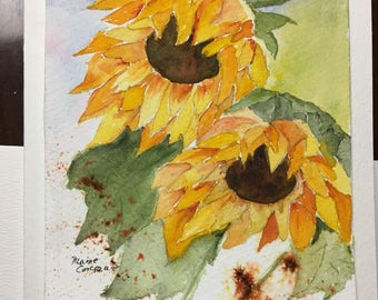 Two Sunny Original Handpainted Watercolor Greeting Card // #Sunflowers // #Floral // #Note Card // #All Occasion Card