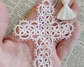 White Cross Bookmark Tatted Lace Tatting with crochet thread