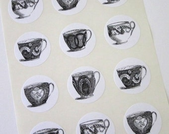 Teacup Stickers One Inch Round Seals