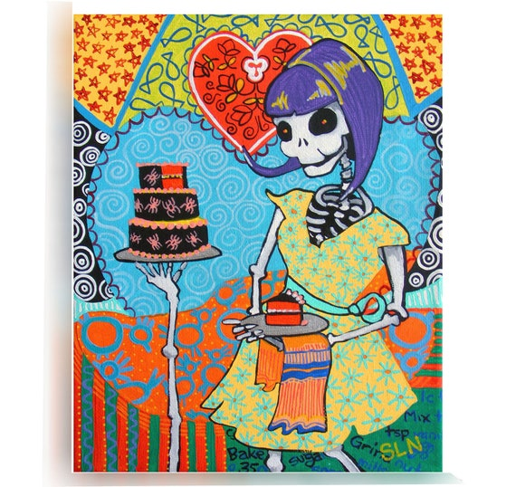 Rockabilly Kitchen Decor: Day Of The Dead Kitchen Wall Art. La Catrina Poster. Mexican