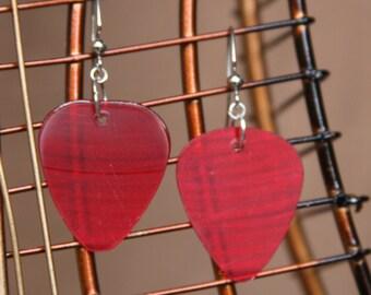 Red Vintage Vinyl Guitar Pick Earrings