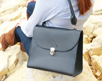 Benton Handbag Made in the USA by Beargrass Leather in Navy Blue (FREE shipping in USA)