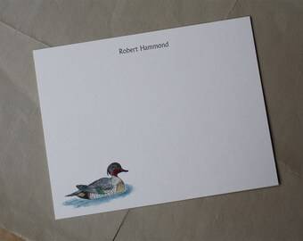 NEW! Teal Duck Custom Stationery Notecards, Water Fowl Stationery. Thank You, Any Occasion, Personalize Watercolor Print, Set of 10.