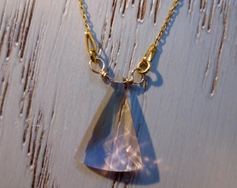 Ametrine Necklace on a  Gold Sterling Silver Chain. Natural Ametrine Fancy Cut. A gift for Her.