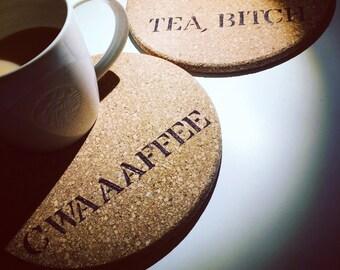 Hand burned tea coffee pot cork mat