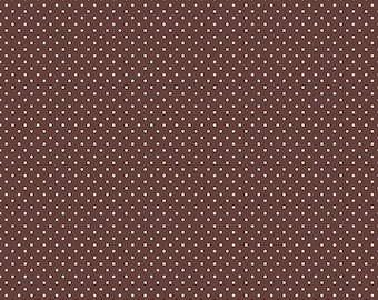 Riley Blake Designs, White Swiss Dot on Brown  (C670 90)