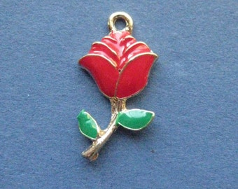 5 Rose Charms - Rose Pendant- Rose - Flower Charm - Enamel - 24mm x 12mm -- (No.117-11115)