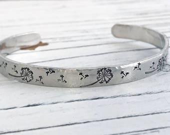Dandelion Fluff Aluminum  Cuff Bracelet, Hand Stamped Bracelet, Motivational Bracelet, Inspirational Bracelet