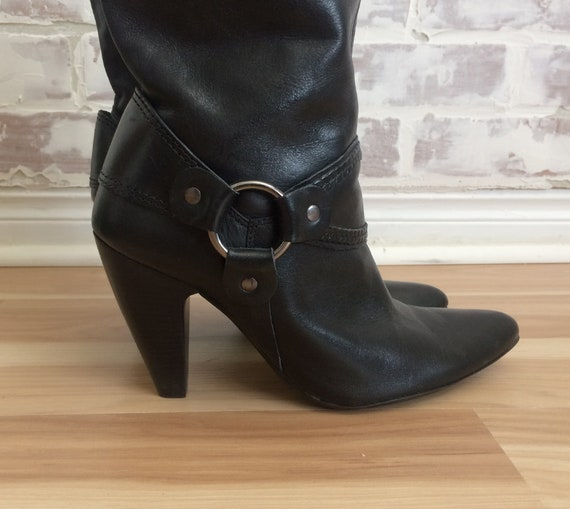 7 Heels Gypsy Leather Size Boots Vintage Black Biker HARNESS With A4zzqT