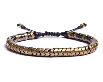 Men's snake brass beads bracelet - unique jewelry for men - adjustable faux black leather and beads bracelet for men - Father's Day Gift.