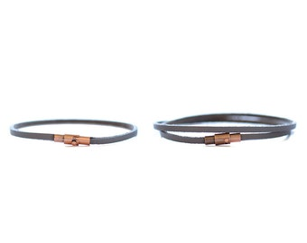 His and Hers Leather Bracelet/ Couple Bracelet/ Thin Slate Blue Leather Bracelet/ Man Thin Leather Bracelet/ Woman Thin Leather Bracelet