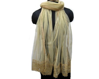 Golden scarf/ net scarf/ trendy scarf/ fashion scarf/ lace scarf/ gift scarf / gift ideas.