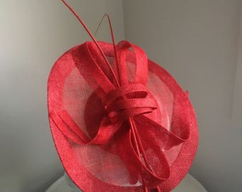 Lulu Red Fascinator, Kentucky Derby Fascinator Hat, Red Hat Society, Wedding Hat, Fancy Hat for Women, Spring Racing Fashion,Royal Millinery