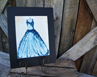 Original watercolor dress, Hand painted, Blue dress, Artwork, Matted artwork, Girl's room, Birthday gift, Gift, Watercolor dress, Women's