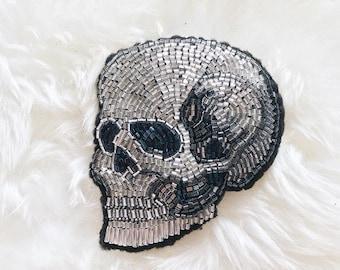 Skull brooch handmade beads