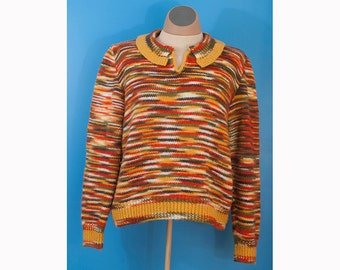 Vintage handmade pullover women's sweater orange green multicolor with collar