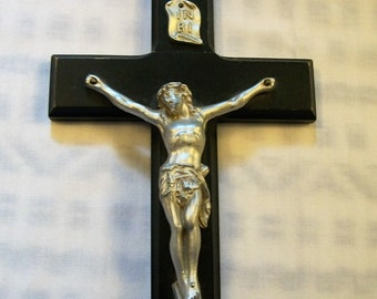 Vintage Crucifix, Vintage Crucifix, Wood Cross, Jesus on the Cross, Religious Crucifix, Wall Crucifix, Dark Wooden Crucifix