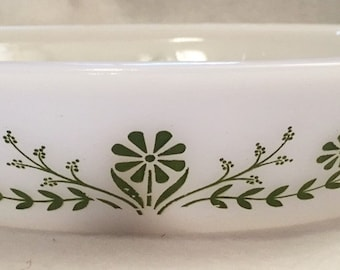 Glasbake Green Daisies divided casserole dish