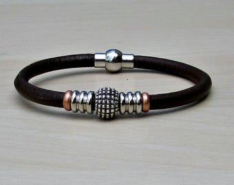 Mens Leather Bracelet, Mens Beaded Bracelet, Bracelet For Him, Antique Silver Plated, Customized On Your Wrist
