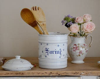 Charming Vintage French Enamelware Canister / Shabby Boho