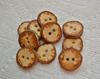 "Wood buttons wooden buttons Tree branch buttons crochet buttons cowl buttons Qty of 10....Spalted Oak 3/4"" buttons  lot 439"