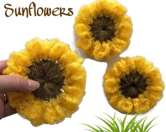 Nylon Pot Scrubber You Choose 2 Through 8 Sunflower Dish Scrubbers,Flower Scrubbies,Crocheted Scrubbies,Great on Teflon & All-Clad Surfaces
