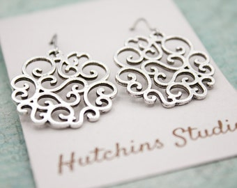 SILVER SWIRL EARRINGS - Surgical Steel Swirl Earrings - Silver Plated Earrings - Big Silver Earrings - Gift For Her