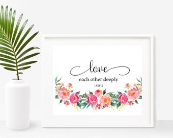 Bible Verse, Love Each Other Deeply, Printable Art, Scripture Wall Art, Christian Prints, Instant Download, Home Decor, Wall Decor