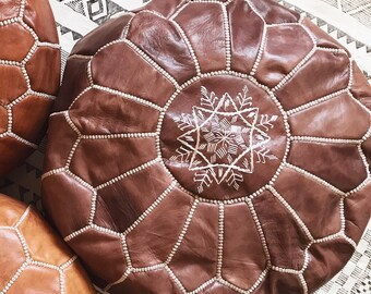 Natural leather Moroccan pouf ottoman in coffee, brown, silk embroidery