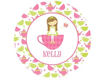 Personalized Girls Plate or Bowl - Tea Party