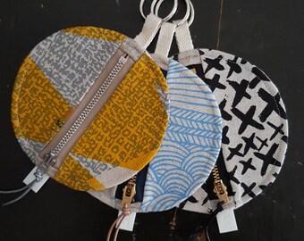 Screen printed circular coin purse with keyring. Ready to ship. An original stocking filler/stuffer