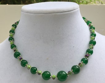 "Graduated green jade necklace, 17"" princess length, Loose choker, Short sparkly necklace, OOAK gift for her, Handmade artisan ALFAdesigns"